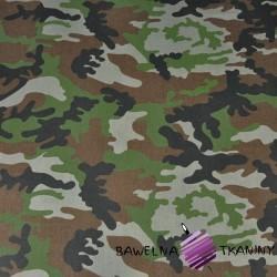 Bawełna wzór MORO czarno-brązowo-zielono-szary