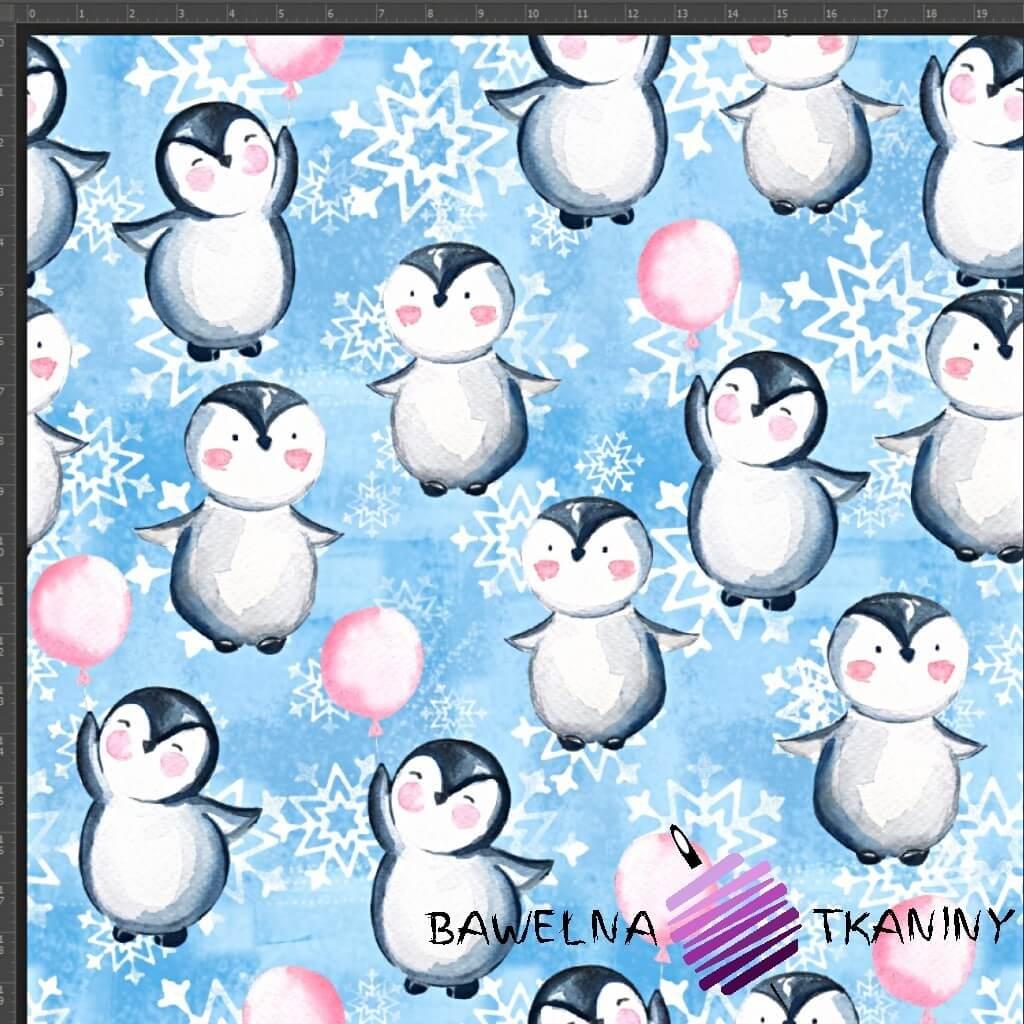Dzianina Jersey druk cyfrowy pingwinki z balonikami na niebieskim tle