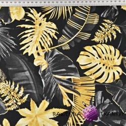 liście złoto grafitowe na czarnym tle