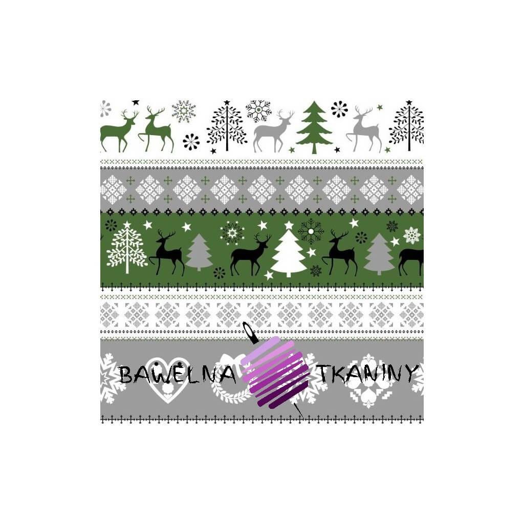 Wzór świąteczny sweter zielono szaro czarny na białym tle