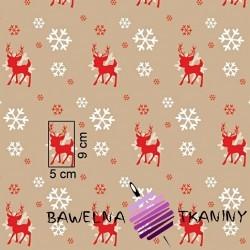 Wzór świąteczny renifery ze śnieżynkami na beżowym tle