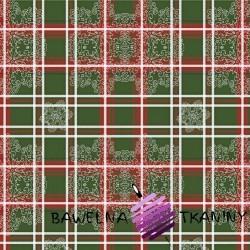 Wzór świąteczny krata ze wzorem na zielonym tle