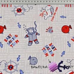 Bawełna Misie nurkowie niebiesko czerwoni na szarym tle