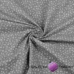 Bawełna łączka MINI z kropeczkami biała na szarym tle