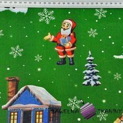 wzór świąteczny mikołaje z domkami na zielonym tle