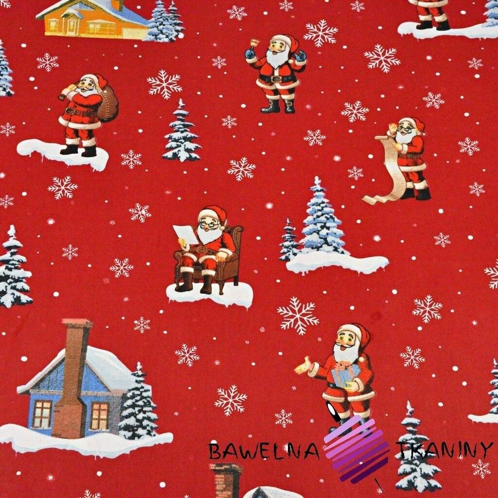 wzór świąteczny mikołaje z domkami na czerwonym tle