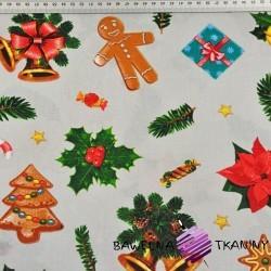 Bawełna wzór świąteczny z ciasteczkami na szarym tle