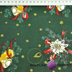 Cotton Cotton Christmas pattern bells and bouquets gilded on a dark green background