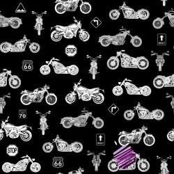 motocykle małe białe na czarnym tle
