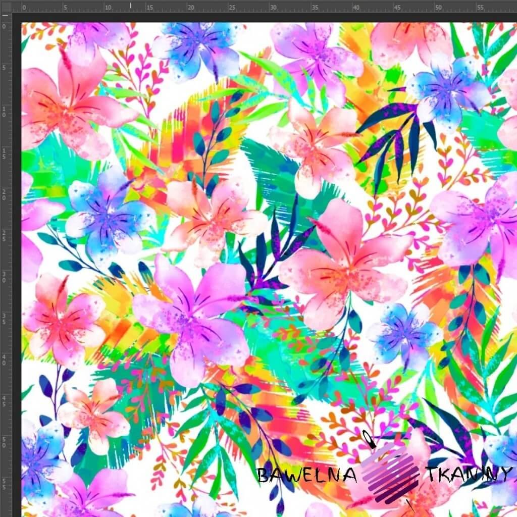Dresówka pętelka druk cyfrowy - kwiaty i liście neonowe na białym tle