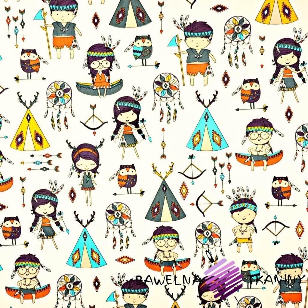 Indianie kolorowi na ecru tle