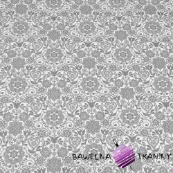 Kwiaty haftowane z ptaszkiem szare na białym tle