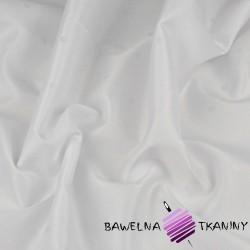 Tkanina obrusowa plamoodporna biała - wzór grochy