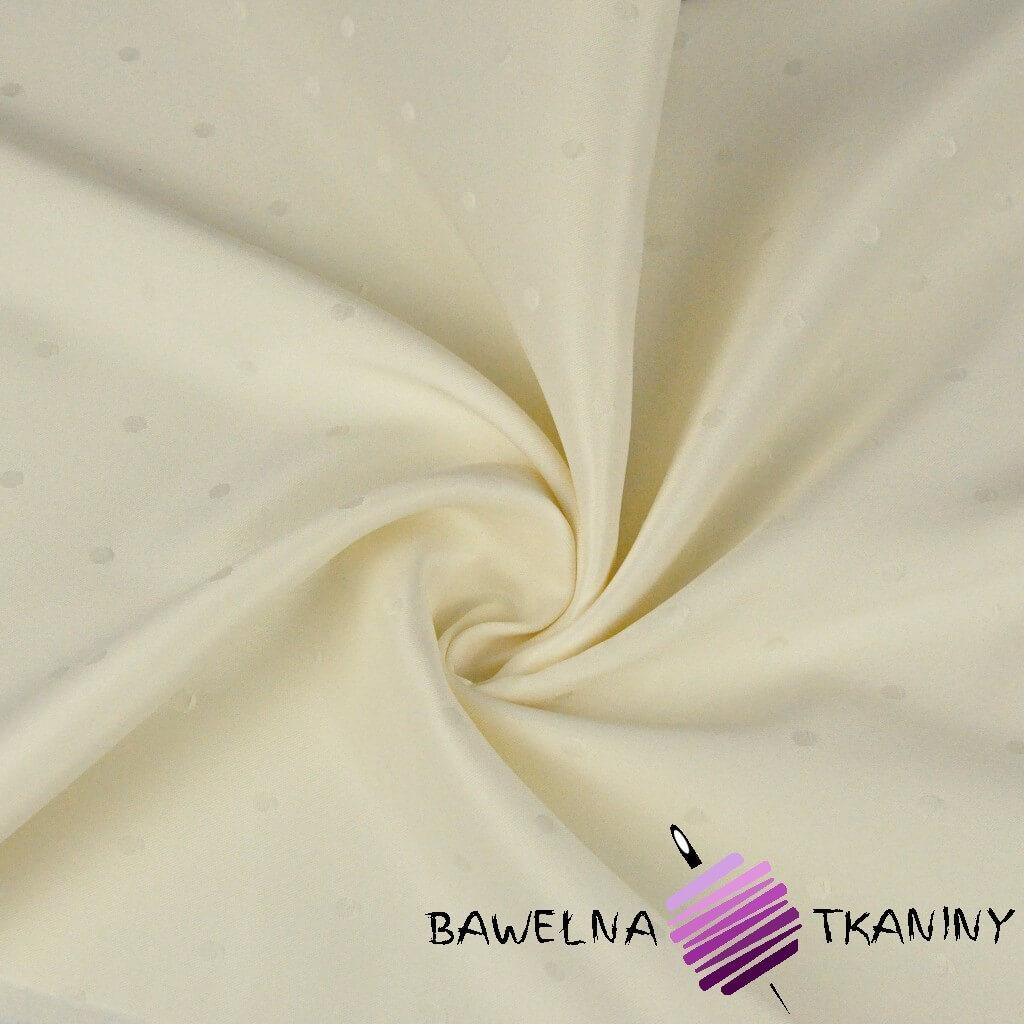Tkanina obrusowa plamoodporna ecru - wzór grochy