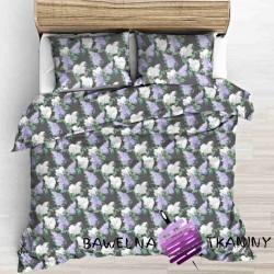 Kwiaty bzu biało fioletowe na szarym tle
