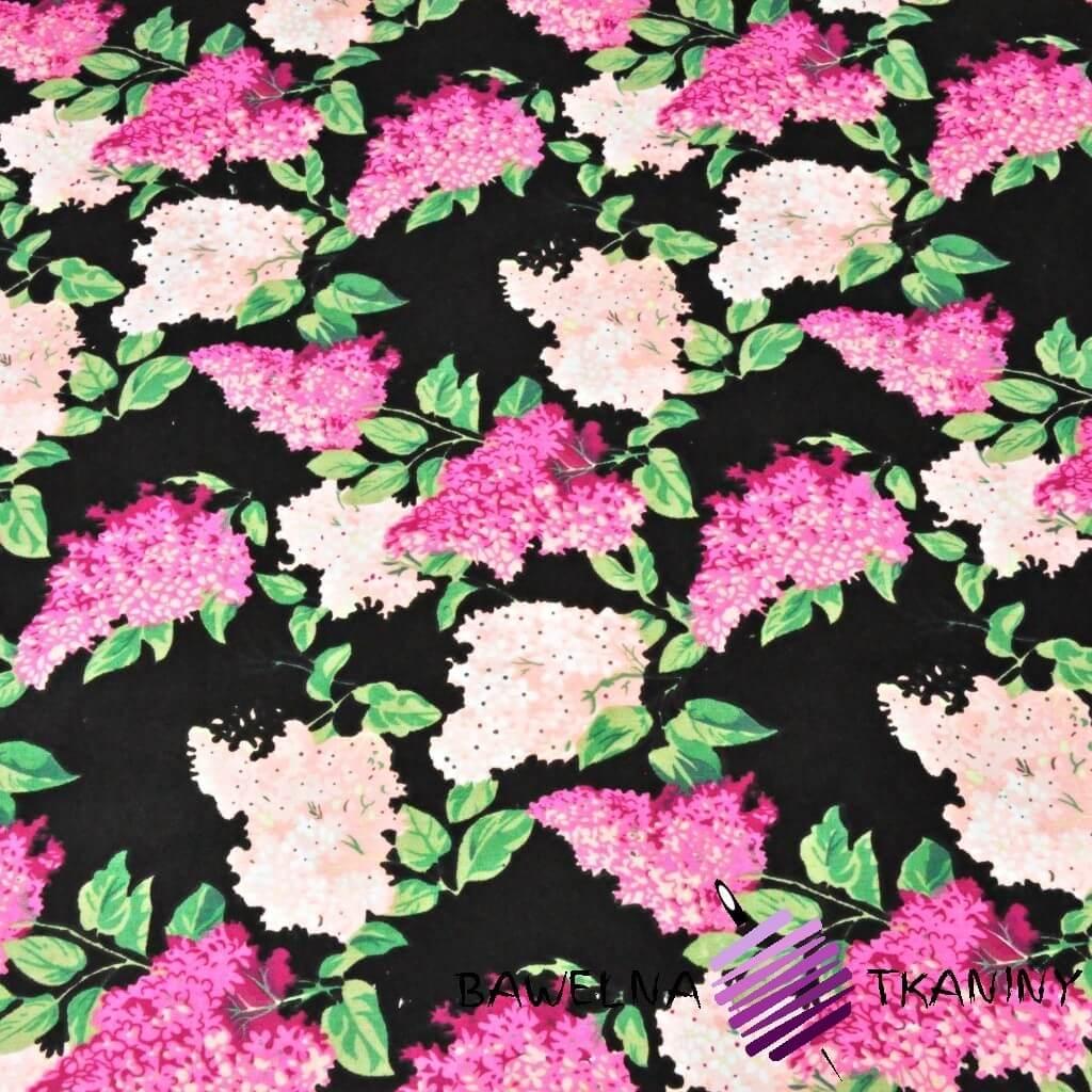 Kwiaty bzu różowo fuksjowe na czarnym tle - 220cm