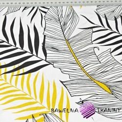 Liście bananowca szare z złoto czarnymi na białym tle - 220cm