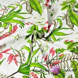 Kwiaty storczyka z zielonymi liśćmi na białym tle