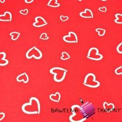 serca kontury białe na czerwonym tle