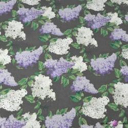 Bawełna aa Kwiaty bzu biało fioletowe na czarnym tle - 220cm