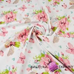 Wróżki Calineczki z kwiatami i motylkami na białym tle