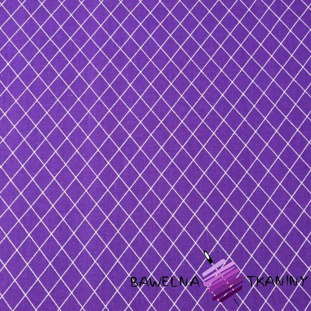 Bawełna romby białe na fioletowym tle