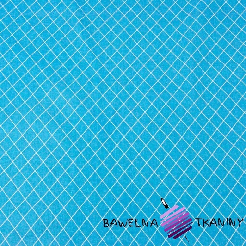 romby białe na niebieskim tle