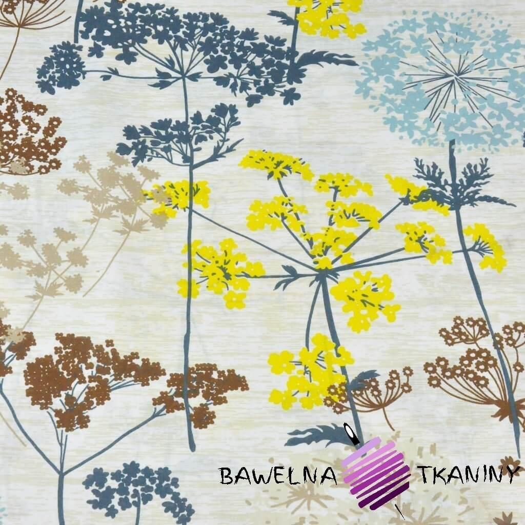 Kwiaty kopru niebiesko żółte na beżowym tle