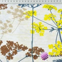 Kwiaty kopru niebiesko żółte na beżowym tle - 220cm