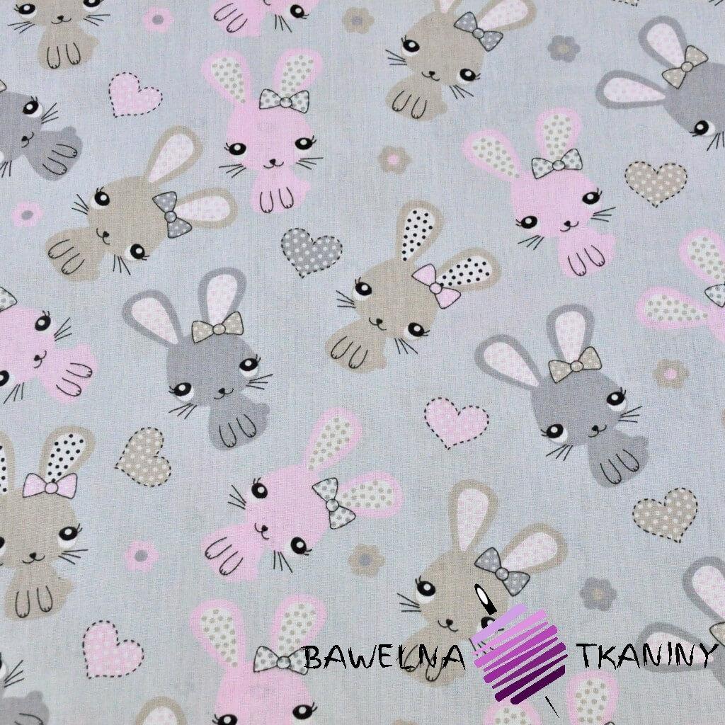 Bawełna króliki różowo beżowe na szarym tle