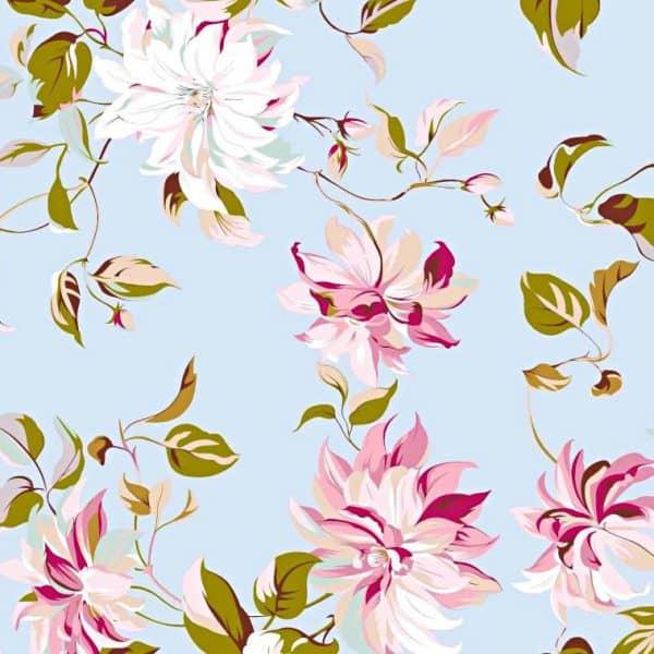 Bawełna kwiaty clematis na błękitnym tle